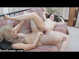 Lesbo seducing hot blonde fundraiser