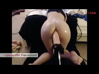 Big anal machine dildo. Horny Girl likes her toy. Hot amateur