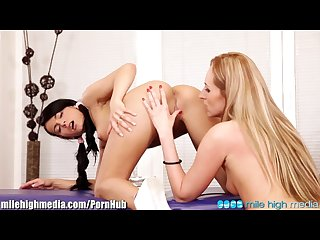 Euro teen and milf eat each other out