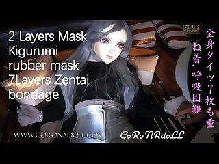 7 layers Zentai and 2 layers mask bondage