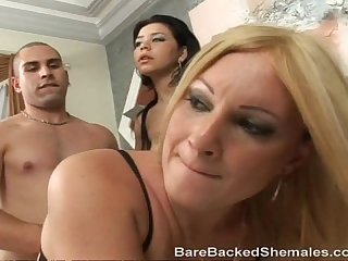 Tranny fetish babes suck on dick
