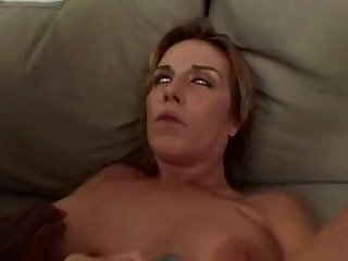 Blonde milf has massive orgasm with black cock in her arse