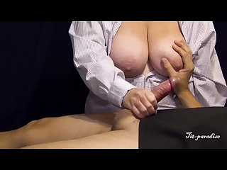 Large breasted milf strokes husbands cock w nice cumshots in compilation