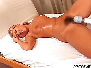 Blonde japanese babe teased with vibrators