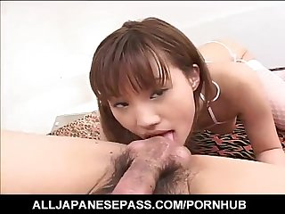 Japanese Av model in fishnets gets cum in mouth after is screwed