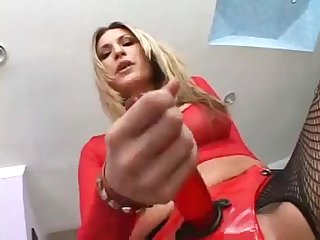 Strap on mistress makes you watch her fuck