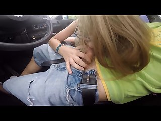 Naughty stepsister sucks and swallows brother in the car