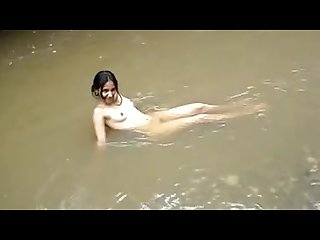 Nude shoot in river