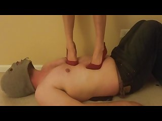 Sexy red high heel trample