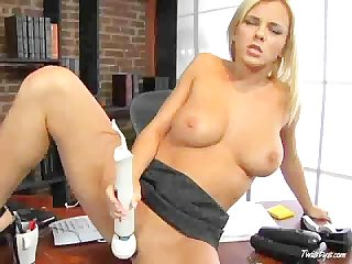 Bree olsen uses a vibrator in her office