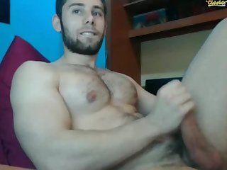 Pelosetto musocloso e col cazzone hung guy cum on his hairy Chest