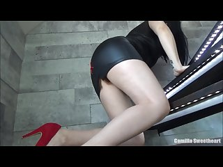 Fuck me in Stairs wife in tight dress high heels rides dick eats cum