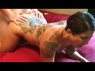 Rough fuck and cum in asshole hot tatted thick milf