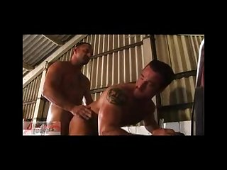 Hairy muscle fuck in the Garage