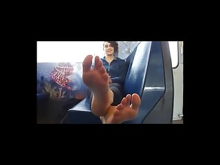 Sexy teen soles on bus in your face