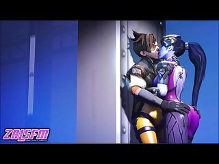 Widowmaker and tracer kissing sensual