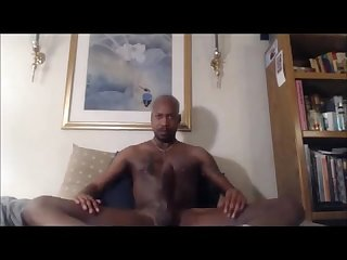 Black gay hunk with 13 inch jerk off