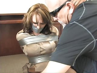 Layla taped up in the office