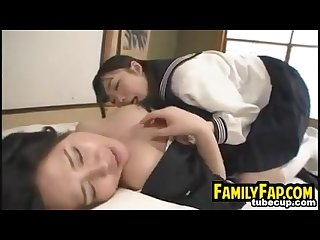 Step mother seduces the cute young daughter