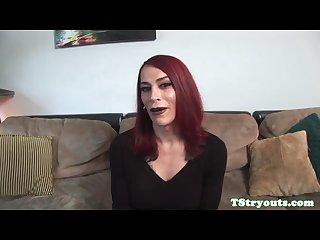 Tattooed trans mature filmed at casting
