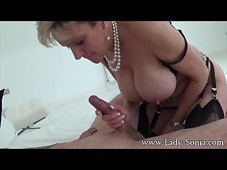Big boobed milf lady Sonia giving handjob and blowjob to a stranger