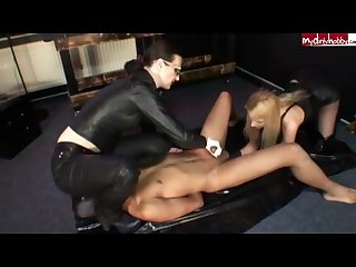 Femdom white and black latex glove handjob