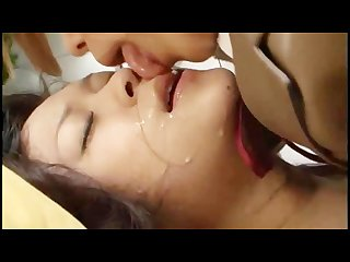 Girls licking face with lot of spit