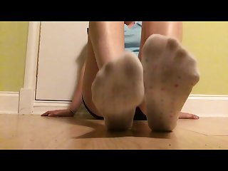 Amateur college girl socks and bare foot pov video