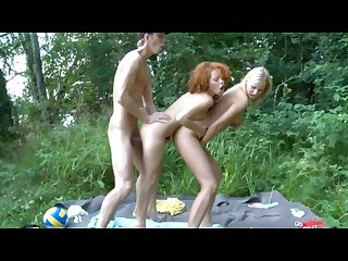 Skinny redhead anal outdoor threesome