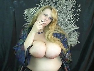 Bbw with huge saggy tits smoking