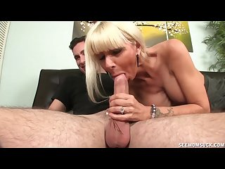 Hot and horny milf sucking