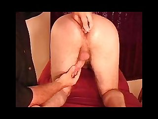 Hairy ass play with helping hand