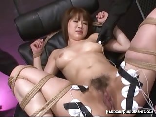 Pretty asian restrained with rope has sex toys inserted for helpless orgasm