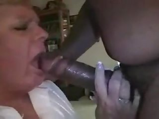 White grany turns into a bbc slut watch her eat cum and get fucked hard