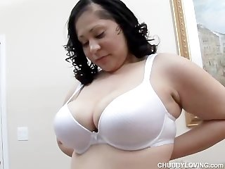 Beautiful big boobs Belly booty brunette bbw loves to fuck her wet pussy