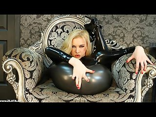Flexible zlata legs behind head latex sexy high heels