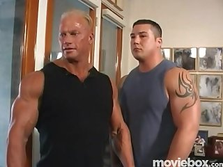 Muscle men moving company scene 1