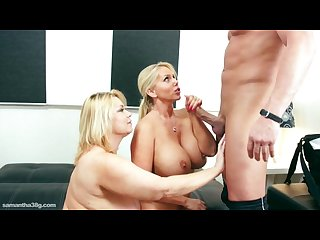 Big tit bbws double team huge cock