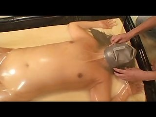 Latex vac bed swimcap breathplay and orgasms