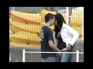 Guy play with his girl in the harbor hidden cam