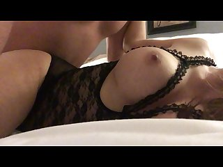 Getting fucked from the side with lingerie shot his hot load of cum on tits