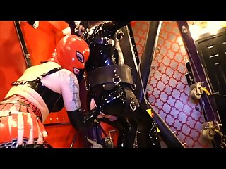 Cybill troy suspended rubber gimp fisting strapon fucking