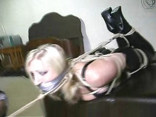 Strict rope bondage and gagged