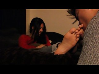 Lick Tickling my asian friends feet