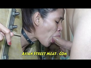 Bowel buggered asian vacuum clean in stocks
