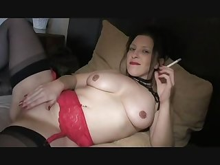Smoking fetish girl masturbating