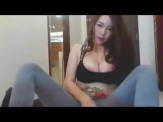 Thai camgirl named milky with huge tits masturbate 1