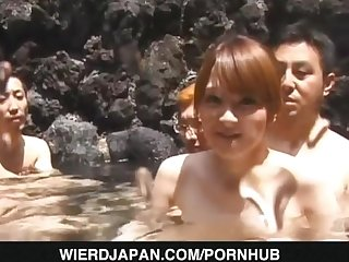 Outdoor porn party with horny babes