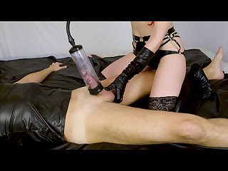 Latex mistress femdom milking cock with vacuum pump