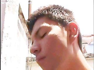 Nude boy jerking off outside